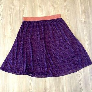 LuLaRoe Lola Purple Lace Elastic Waist Midi Skirt